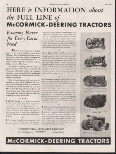 1933 MCCORMICK FARMALL TRACTOR AGRICULTURE MOTOR ENGINE10432