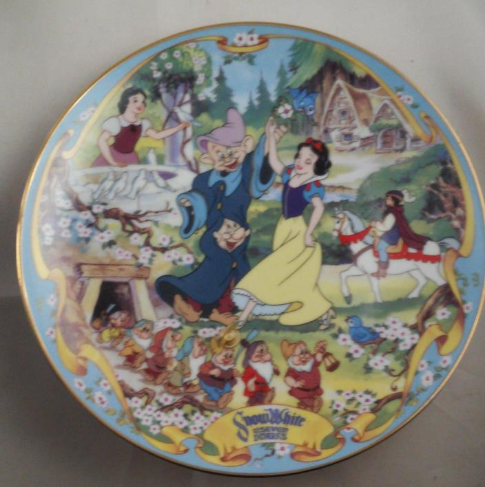 1995 Bradford Exchange Disney Snow White Musical Plate Plays Heigh Ho COA