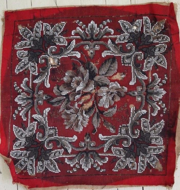 Antique Beaded Square Chair Cover Red Black White Victorian