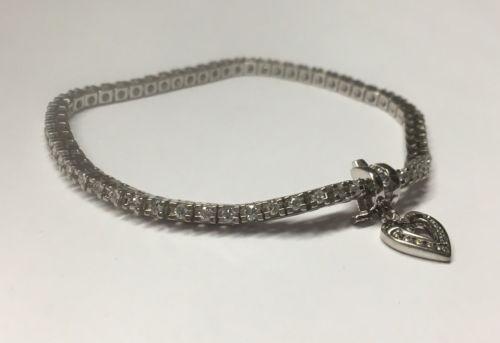 14K White Gold Diamond Tennis Bracelet With Heart Charm - New