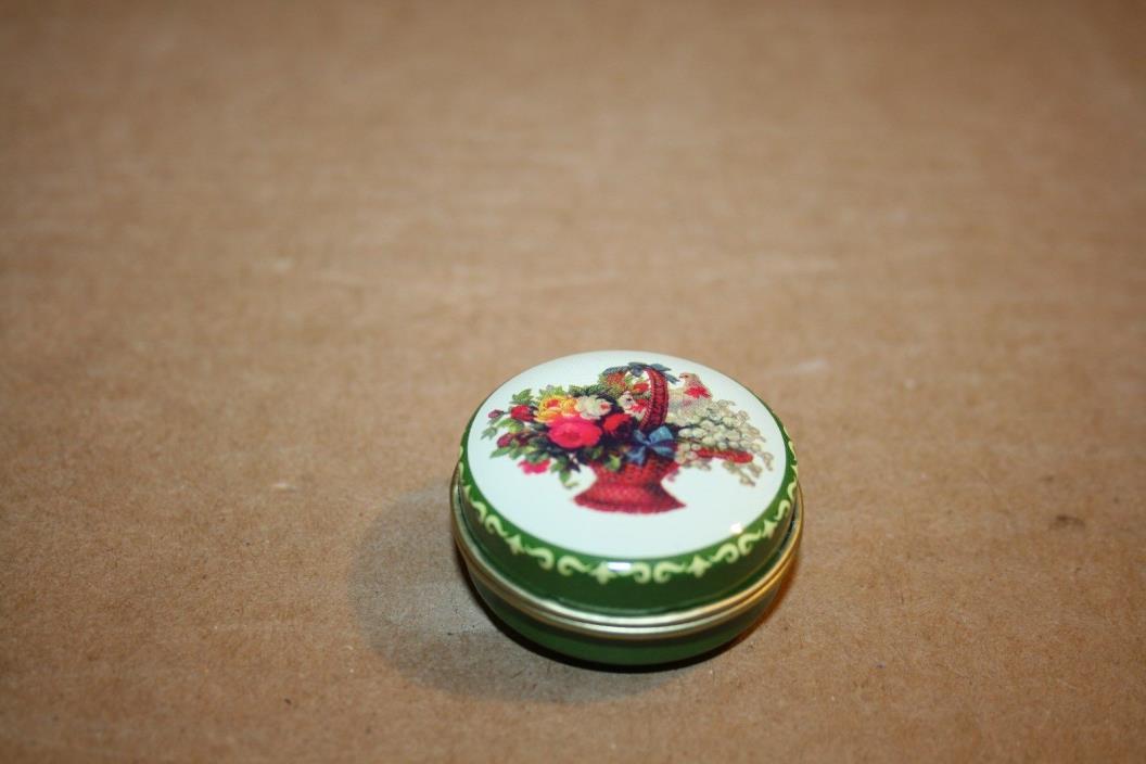 Vintage Floral bouquet Metal Pill box