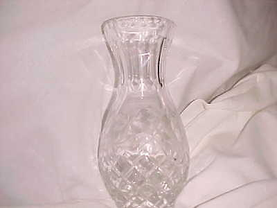 EARLY AMERICAN PRESSED GLASS CRYSTAL VASE, ETCHED FLOWERS    7/2