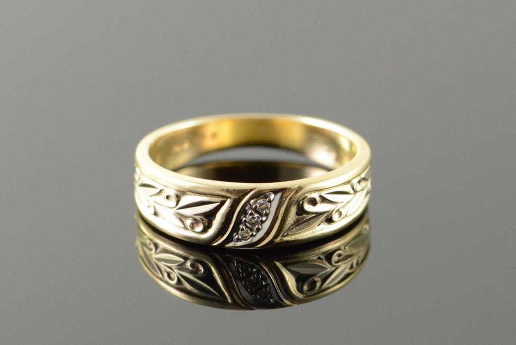 10K Genuine Diamond Scroll Fancy Wedding Band Ring Size 7 Yellow Gold