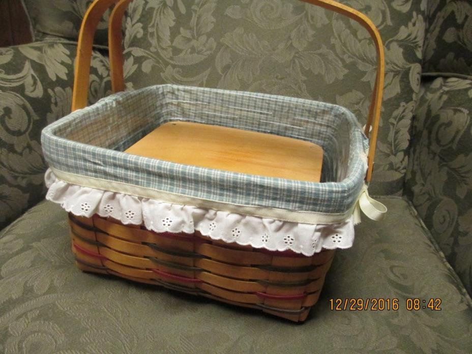 LONGABERGER 1998 WOVEN TRADITIONS TRI COLOR CAKE BASKET COMBO WITH RISER