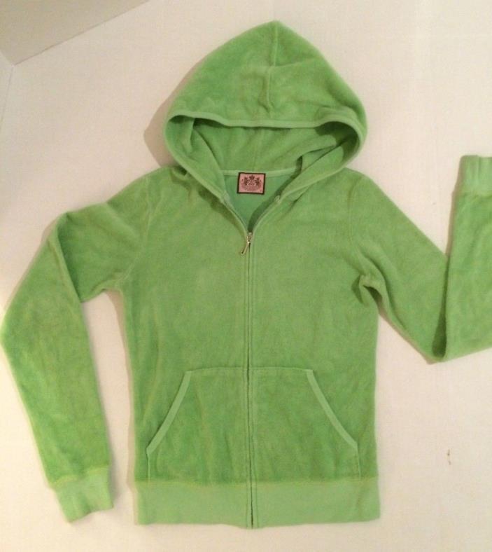 Juicy Couture wmn sz S celery terrycloth LS front zip Hoodie track jacket VGUC