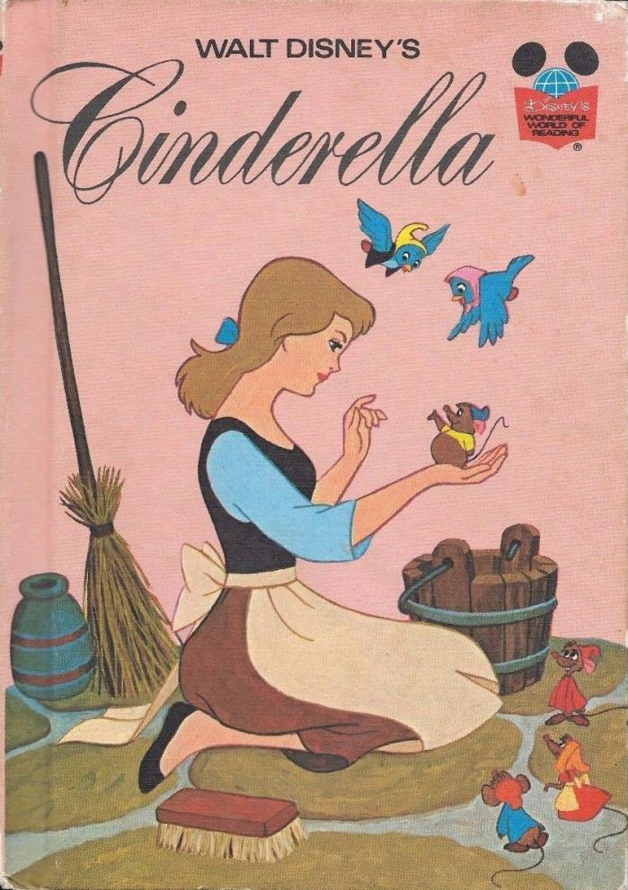 Vintage 1974 Walt Disneys Cinderella Princess Hardcover Book Childrens Cartoon