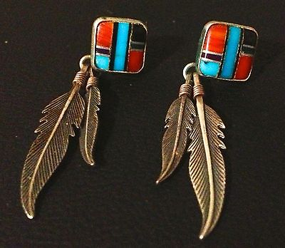 GREAT   SOUTHWESTERN  JEWELRY --  PIERCED  EARRINGS  SILVER & TURQUOISE & CORAL