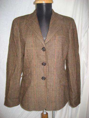 Ralph Lauren Houndstooth Plaid Equestrian Style Hunting Jacket Blazer 10