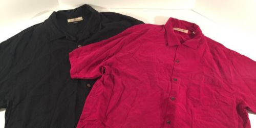Lot 2 Tommy Bahama Shirts Men's XL Button Front Short Sleeve Black Cranberry