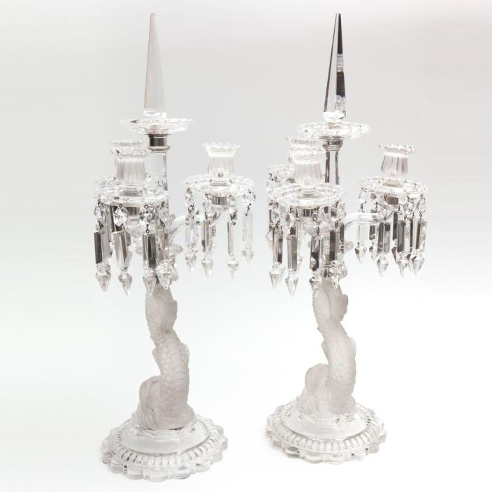 Baccarat. Pair of Signed Amazing Candelabras. Early 20th century