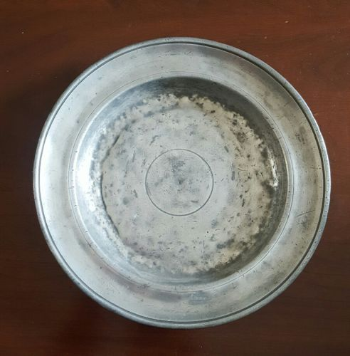 Antique Pewter Shallow Bowl Plate English or American 18th 19th Century