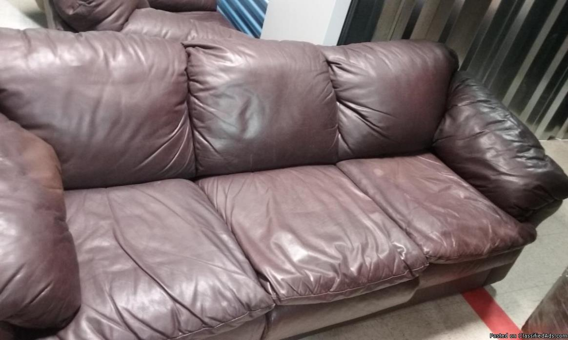 ALL LEATHER COUCH, CHAIR AND OTTOMAN