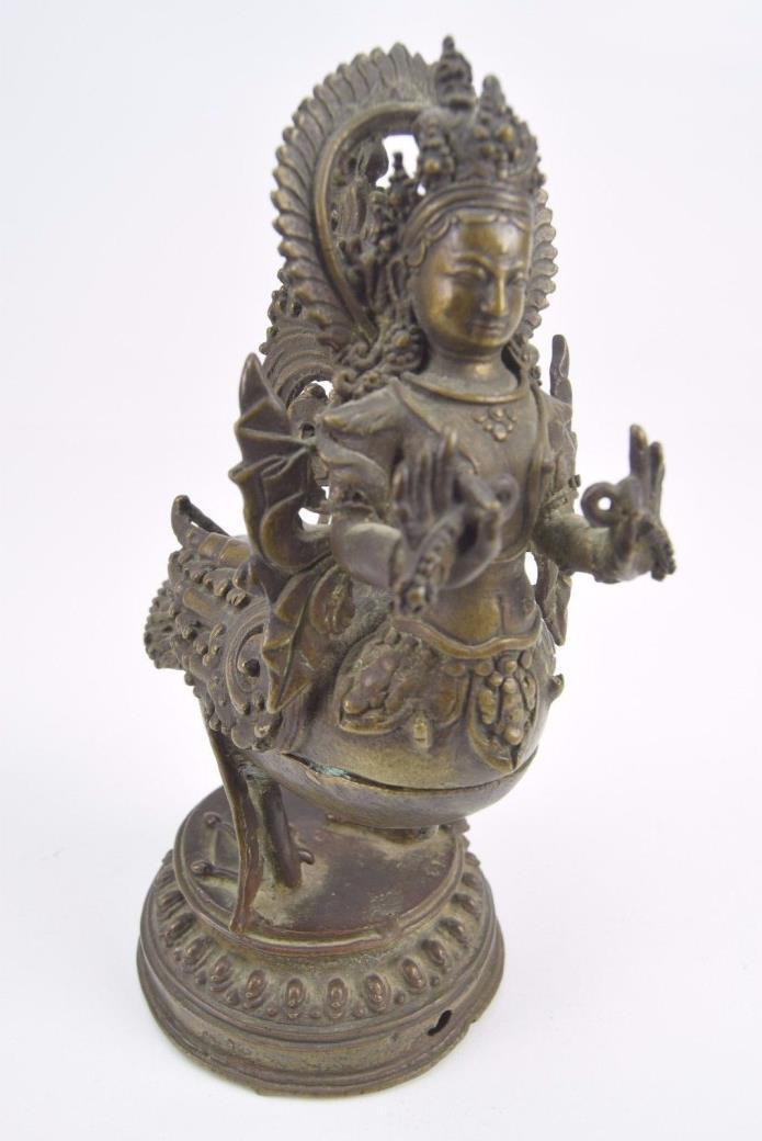 Antique Bronze Kinnara Container Statue w Circular Base 7