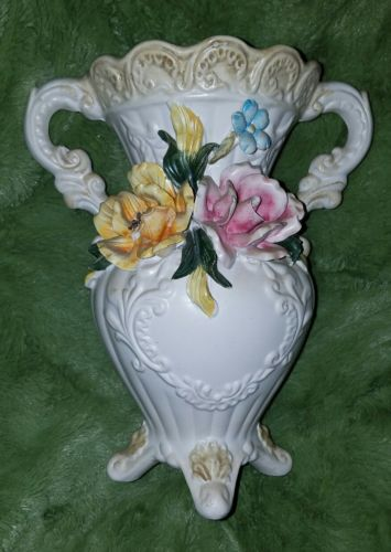 Capodimonte Porcelain Vase with Roses and Flowers