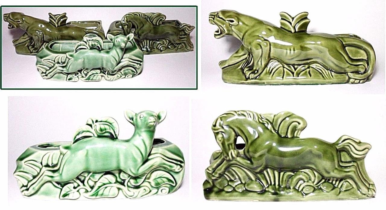 3 Pc~Vtg Mid Century Panther/Cougar Horse Deer Green Ceramic TV Lamp* Planter