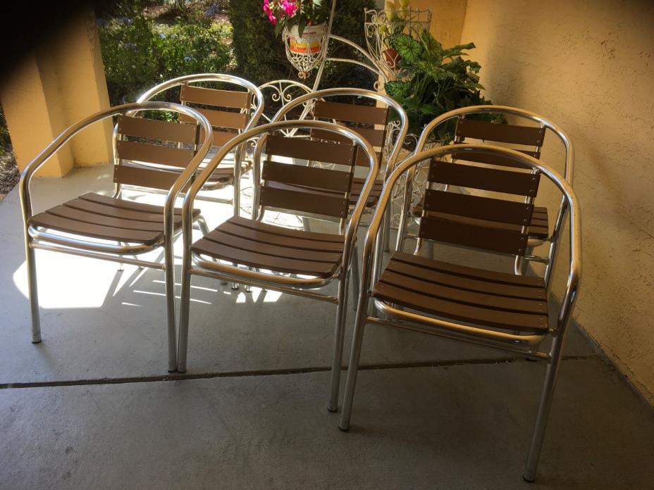 6 Aluminum  & Wood Indoor Outdoor Stackable Chairs Pick Up