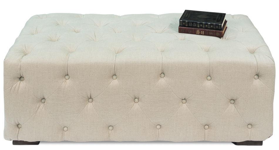 Tufted White Linen Bench