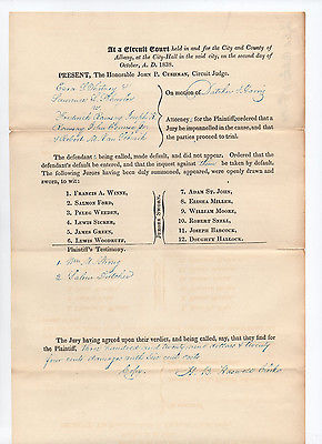 1838 New York Circuit Court document SIGNED by Henry B. Haswell - Salem Dutcher