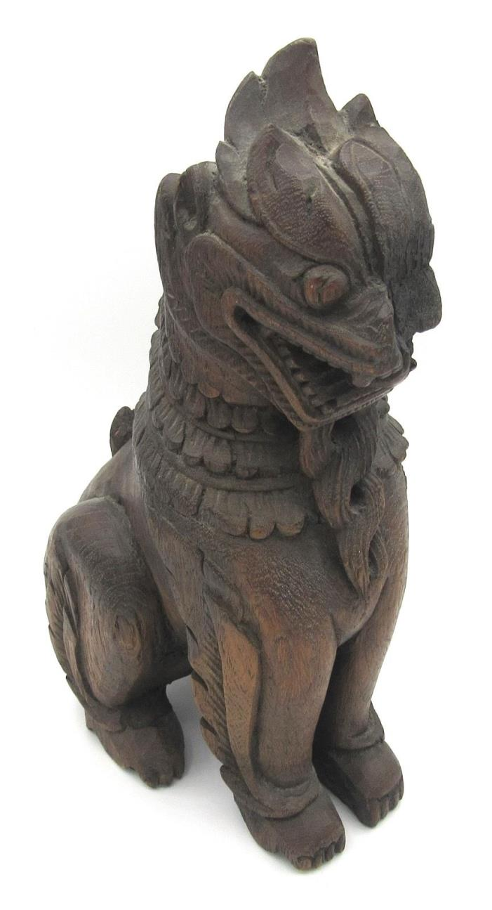 Antique carved Chinese wood Foo Dog Dragon 11