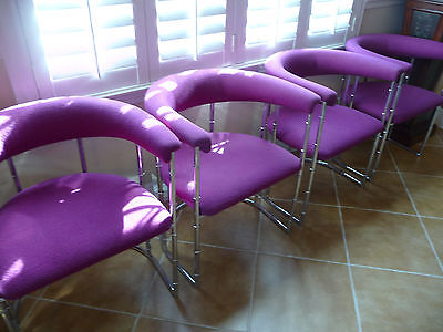 Vintage Upholstered Chrome Chairs by Contemporary Shell, Inc.