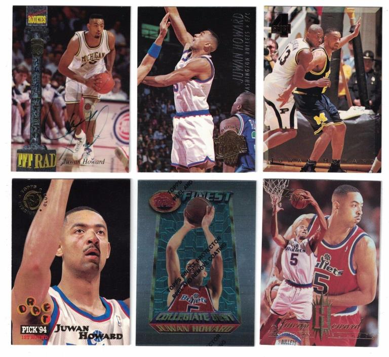 Juwan Howard 1994 SIGNATURE ROOKIES TETRAD AUTO CARD & ROOKIE LOT (9) MICHIGAN