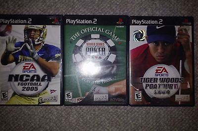 PS2 Game lot: World Series of Poker, NCAA Football 2005, Tiger Woods PGA Tour 04