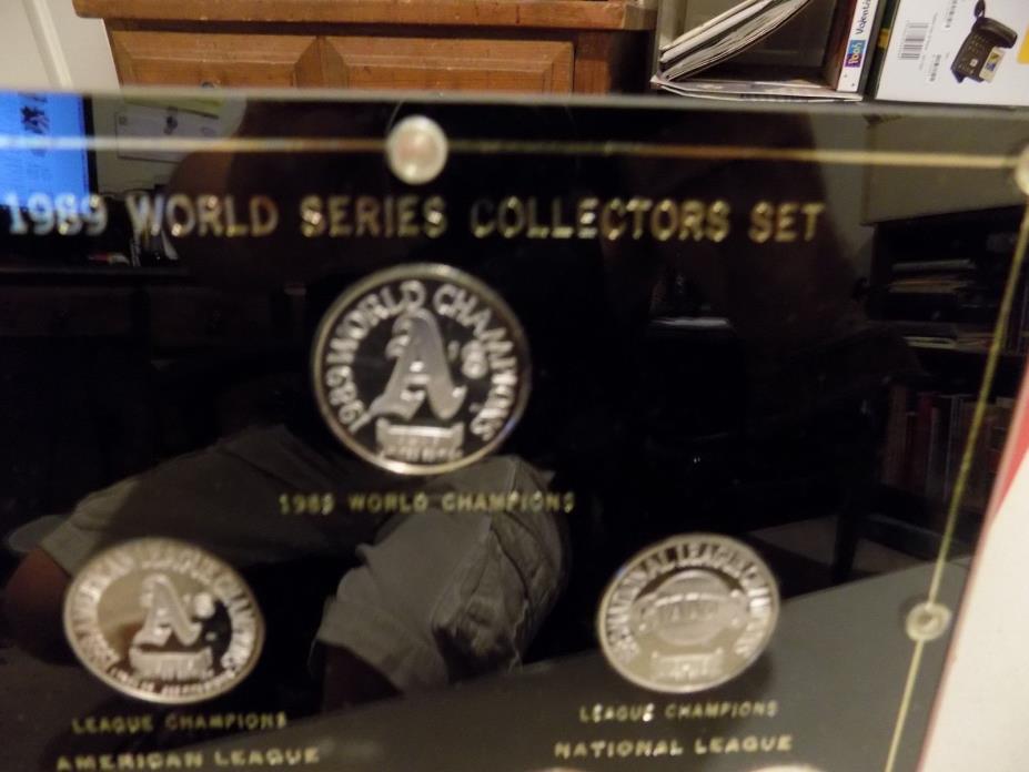 SILVER 1989 MAJOR LEAGUE BASEBALL  WORLD SERIES CHAMPIONS 7 COIN SET
