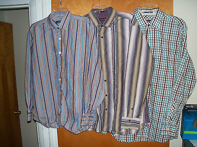 MEN'S SIZE L LARGE TOMMY BAHAMA STRIPED LONG SLEEVED BUTTON SHIRTS LOT OF 3
