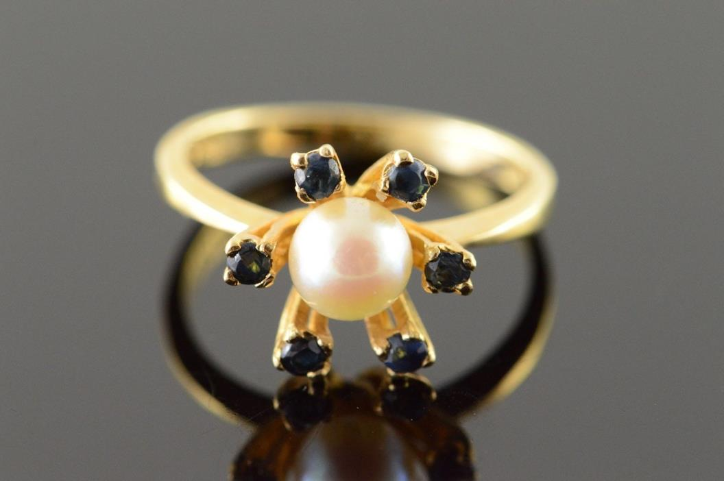 14K Retro 5.8mm Pearl Sapphire Halo Ring Size 6.75 Yellow Gold