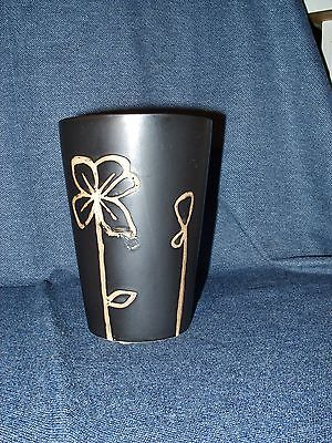 Beautiful Black Glazed Hand Designed Art Glass Vase / Trinket Holder EUC