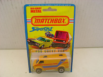 1976 MATCHBOX LESNEY SUPERFAST #68 ORANGE CHEVY VAN NEW MOC