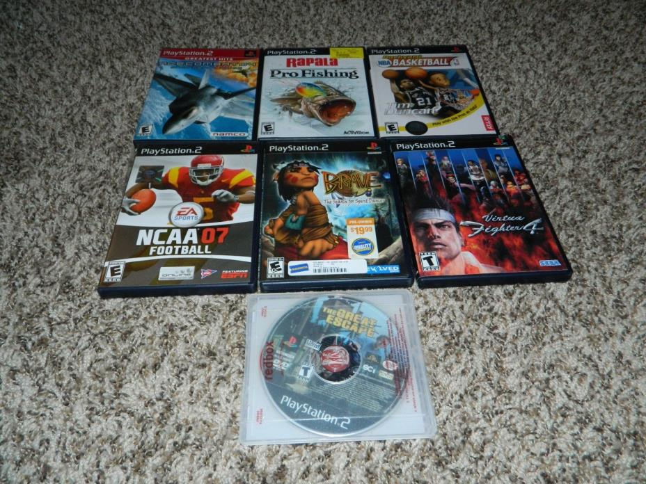 Lot of 7 Various PS2 Playstation 2 Games NCAA Backyard Ace Rapala Virtua Fighter