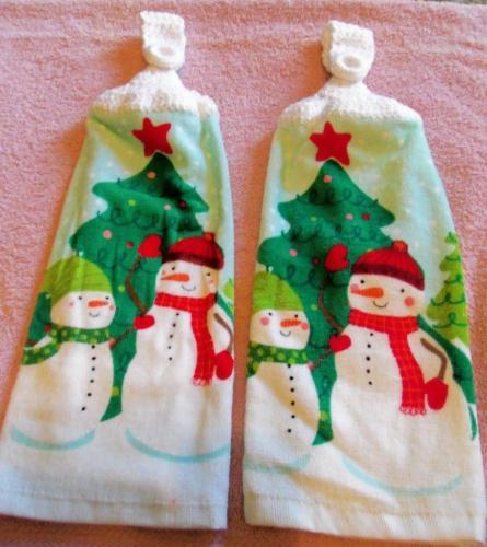 Christmas Trees & Snowman Kitchen Hanging Towels Medium Quality (2)