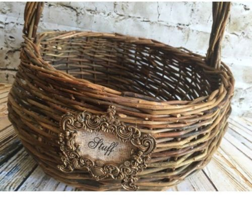 Vintage Basket, Rustic Basket, Natural Basket, Basket With Label