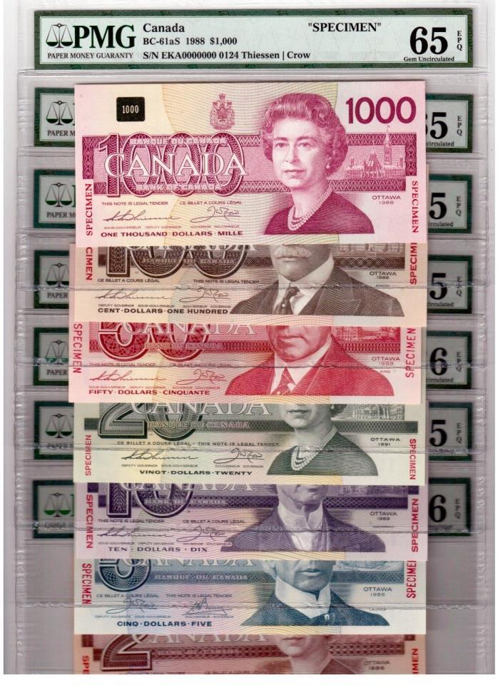 Canada Lot of 7 Specimen $2 - $1000 Banknotes 1986-91 PMG GEM UNC 65-66 EPQ