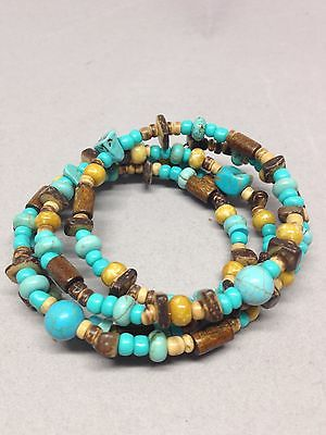Vintage Turquoise Howlite Brown Stone Coil Bracelet