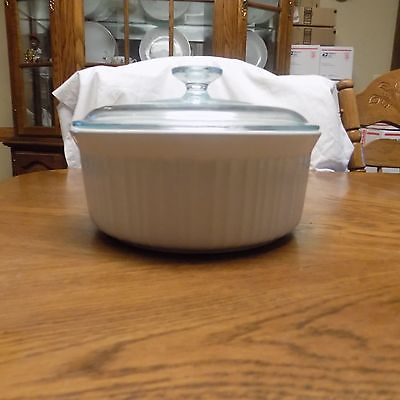 CorningWare French White 2.5qt Round Casserole Baking Pan Dish Roaster 2.5