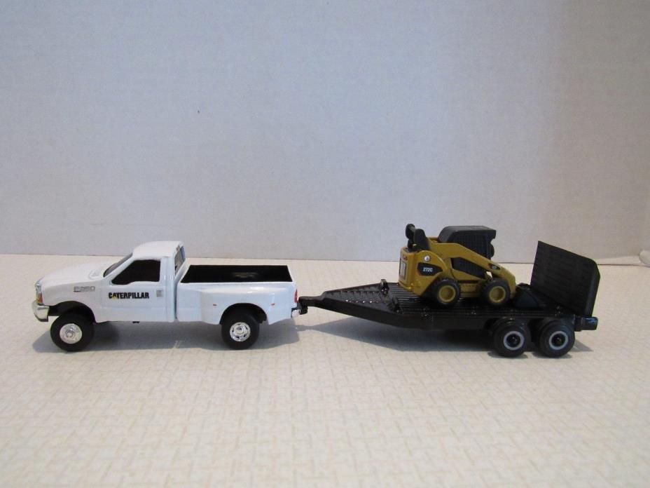 1/64 Ertl Farm Toy CUSTOM  CATERPILLAR FORD TRUCK TRAILER AND CAT SKIDSTEER