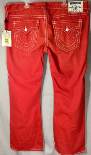 NWT True Religion Men Red Denim Jeans nwt Boot Cut Size 44