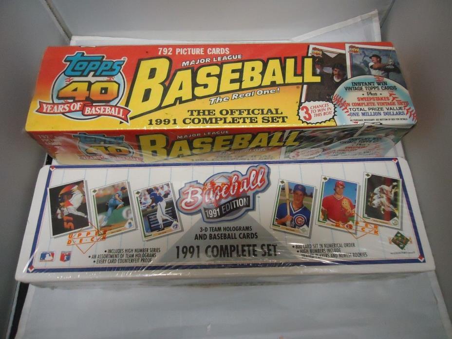 1991 Topps & 1991 Upper Deck Baseball Complete Sets Sealed