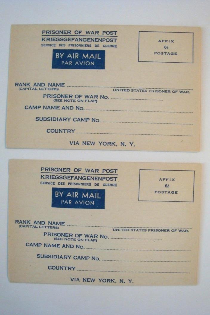 1944 PRISONER OF WAR AIRMAIL ENVELOPES (2) USA WWII MILITARY GERMAN FR UNUSED