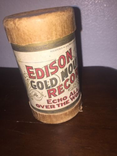 Edison Gold Moulded Records Cylinder Empty Container Copyright 1904