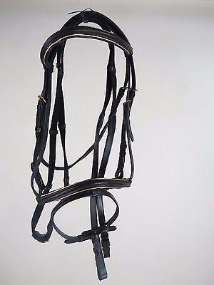 Premium black horse size English bridle & grip reins Silver TRIM BROW & NOSE