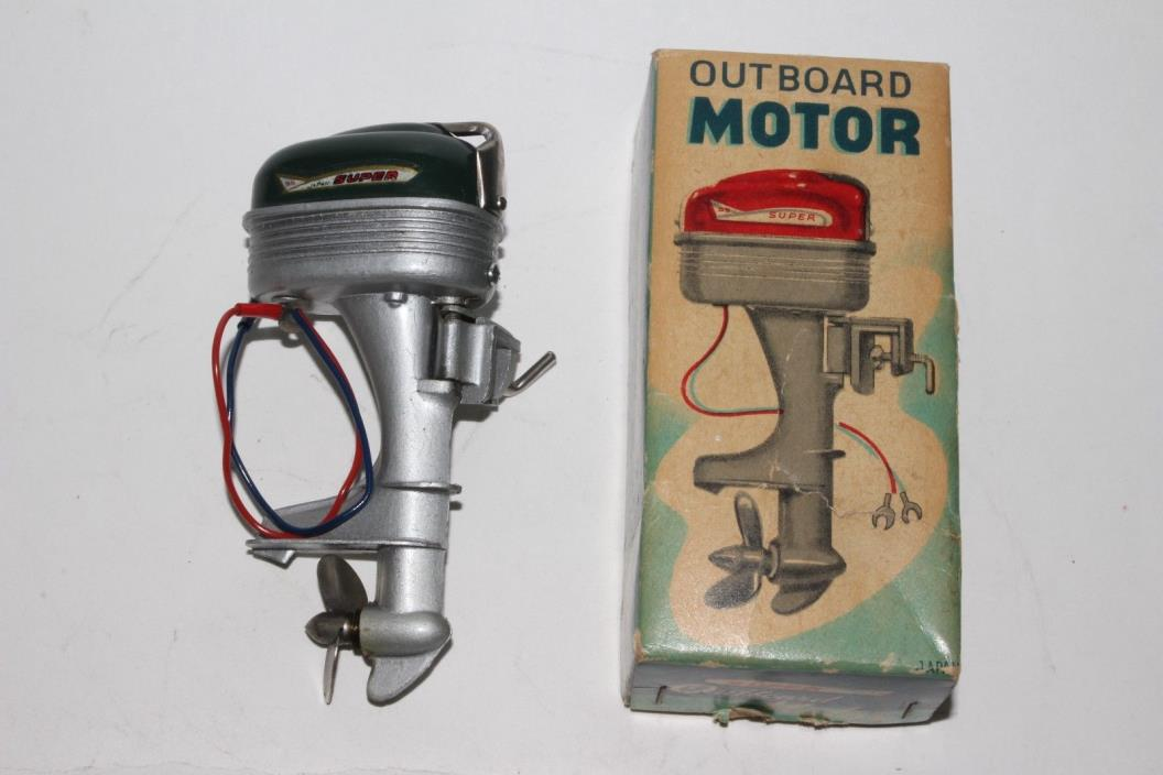 1950's Made in Japan Super SS, S6 Toy Outboard Motor with Box, Nice Original