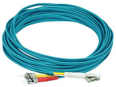 10Gb Fiber Optic Cable, LC/ST, Multi Mode, Duplex - 10 Meter - Aqua