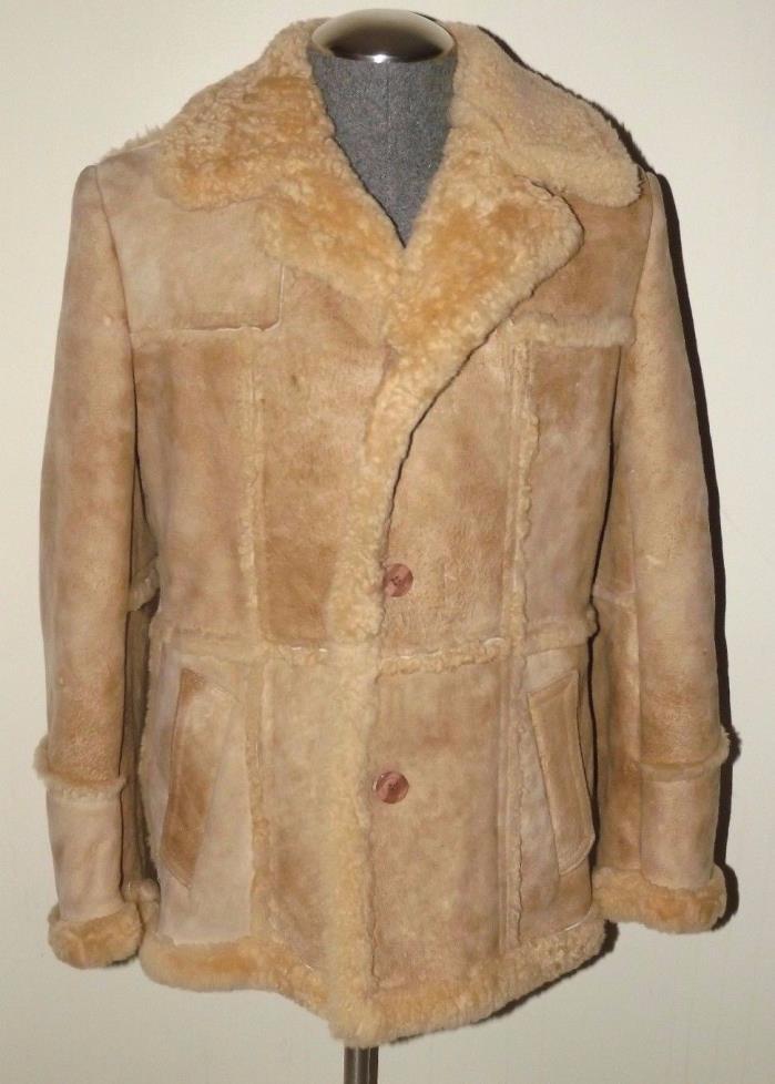 Vintage Mens Cosa Nova Tan Shearling Leather Coat (Size 42)