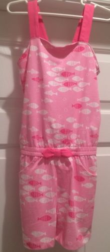 NWT Girl's Gymboree Pink & White Romper Size 7