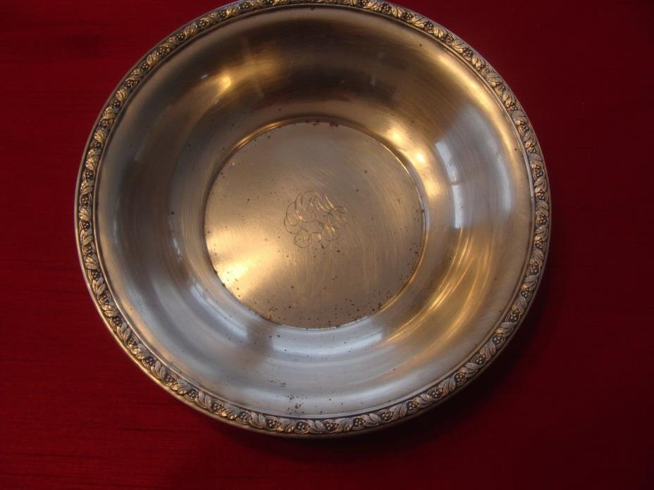 English Sterling Silver Nut Dish Mint Jewelry Pin Tray Monogrammed