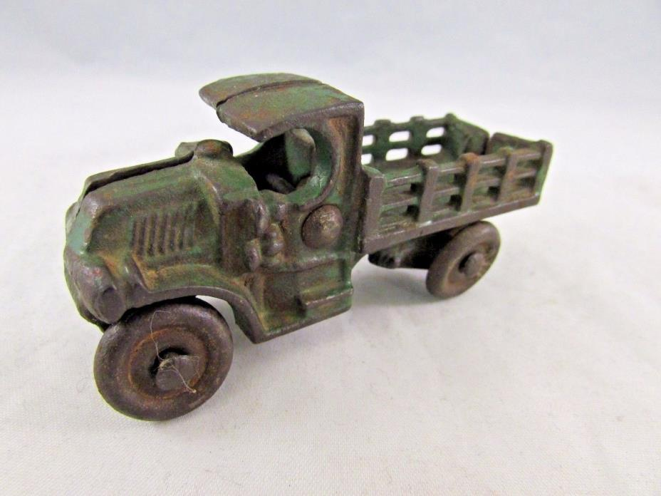 VINTAGE ARCADE CAST IRON STAKE BED TRUCK NICKEL PLATE WHEELES