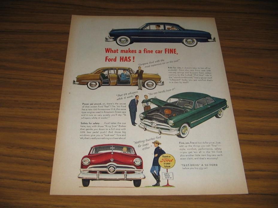 1950 Print Ad '50 Ford Cars 4 Different Colors Ford in Your Future